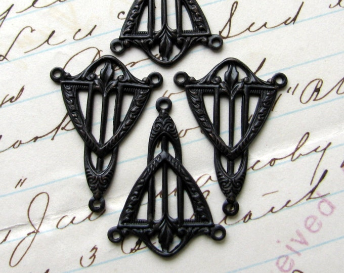 Art Deco triangle necklace link, 2 to 1 connector, black antiqued brass, 15mm x 22mm (4 reducers) black aged patina