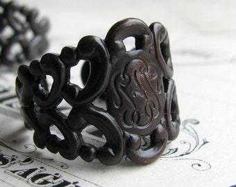Black Brass filigree ring blank, adjustable base, black patina, fits sizes 6 to 9 (2 rings) dark, made in USA, lead nickel free FL-SG-022
