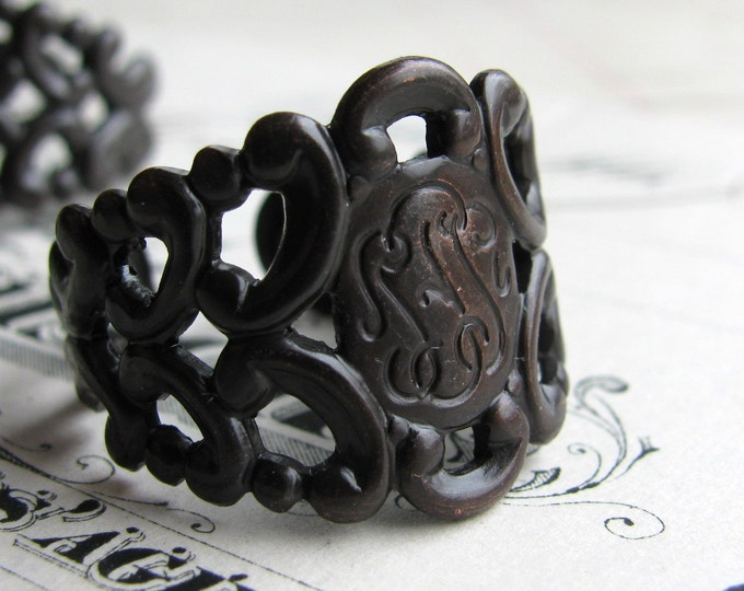 Brass filigree ring blank, adjustable base, black antiqued patina, fits sizes 6 to 9 (2 rings) dark, made in USA, lead nickel free FL-SG-022