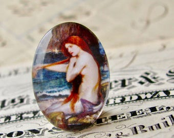 "John William Waterhouse ""A Mermaid"" 25x18mm glass oval cabochon, artisan crafted in this shop, Art History collection, photo glass cabochon"