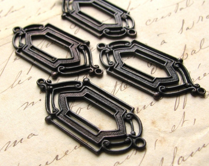 Art Deco link, window design, 12mm x 28mm, dark antiqued brass (4 links) aged black patina, lead nickel free, made in the USA
