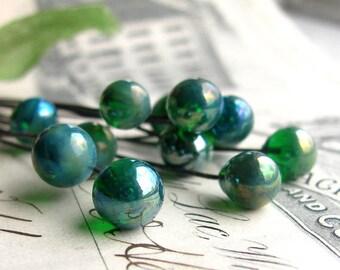 """Glass headpins """"Blue Absinthe"""" handmade, lampwork, aqua, blue, green, 7mm round, 3"""" long copper wire, 22 gauge, (4 head pins) absynthe"""