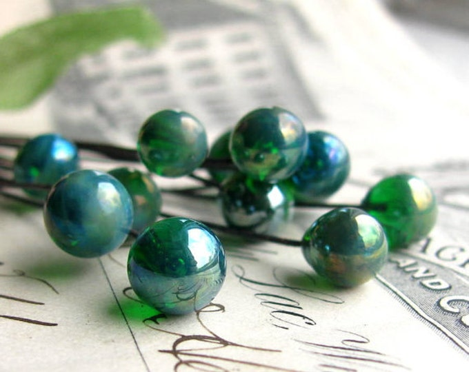 "Glass headpins ""Blue Absinthe"" handmade, lampwork, aqua, blue, green, 7mm round, 3"" long copper wire, 22 gauge, (4 head pins) absynthe"