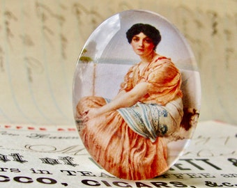 "John William Godward ""Reverie"" 40x30mm glass oval cabochon, artisan crafted in this shop, fine art cabochon, pink, woman, Art History"