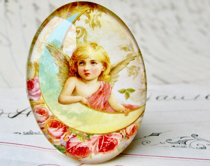 Handmade glass oval angel cabochon 40x30mm or 25x18mm yellow moon, pink roses, Victorian cherub, winged angel, glass cabochon, oval cabachon