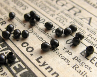 2mm brass bead, smooth dark brass (50 beads) black bead, tiny spacer bead, aged black patina, small size accent bead, lead nickel free