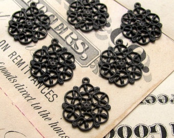 Antiqued brass filigree charms 14mm (6 snowflake charms) mini mandala charm, aged black patina, small pierced delicate, black brass charms