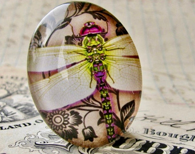 White dragonfly cabochon, handmade glass oval cabochon, 40x30mm or 25x18mm, black damask wallpaper background, Winged Wonders collection