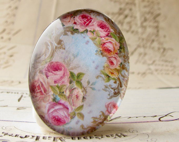 Pink roses against the blue sky, handmade glass oval cabochon from our Fabulous Florals collection, 40x30mm or 25x18mm, photo glass image