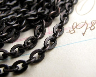 """Small link delicate chain """"Lempicka"""" flat cable chain, black brass chain, 2.5mm x 3.5mm, per foot, made in USA, bulk length"""