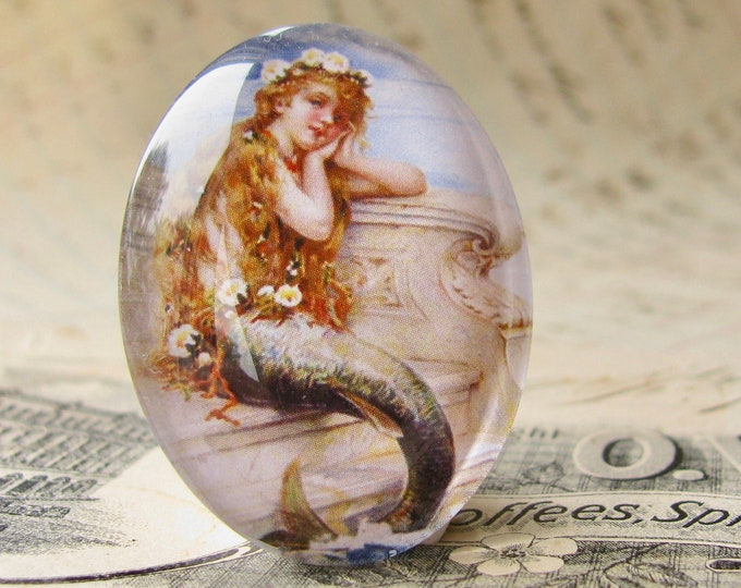 "Vintage 1930s advertisement  ""Mermaid Bath Salts""  - handmade glass oval cabochon 25x18mm or 40x30mm  nautical legend, beach jewelry"