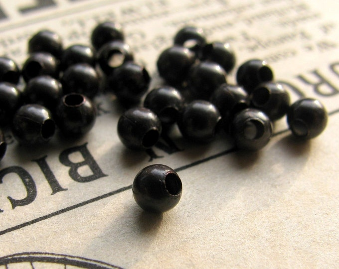 3mm dark brass bead, aged patina, (50) round smooth spacer bead, black bead, tiny, small, lead nickel free, oxidized brass bead