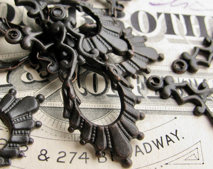 Art Deco pendant drop, 34mm, black antiqued brass (4 earring charms) black patina dangle, made in the USA