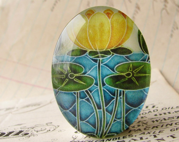 """NEW! From the """"Art Nouveau Ceramic Tiles"""" series, handmade 40x30mm glass oval cabochon, Belle Époque, golden yellow lily flower, green stem"""