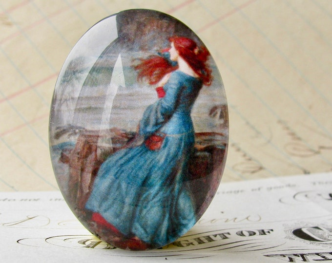 "John William Waterhouse ""Miranda"" (The Tempest) 40x30mm glass oval cabochon, artisan crafted, Art History collection, photo glass, handmade"