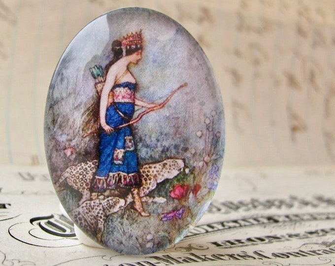 NEW! Warwick Goble illustration, 40x30mm glass oval cabochon, artisan crafted, Art History, Diana goddess of the hunt, huntress, leopard