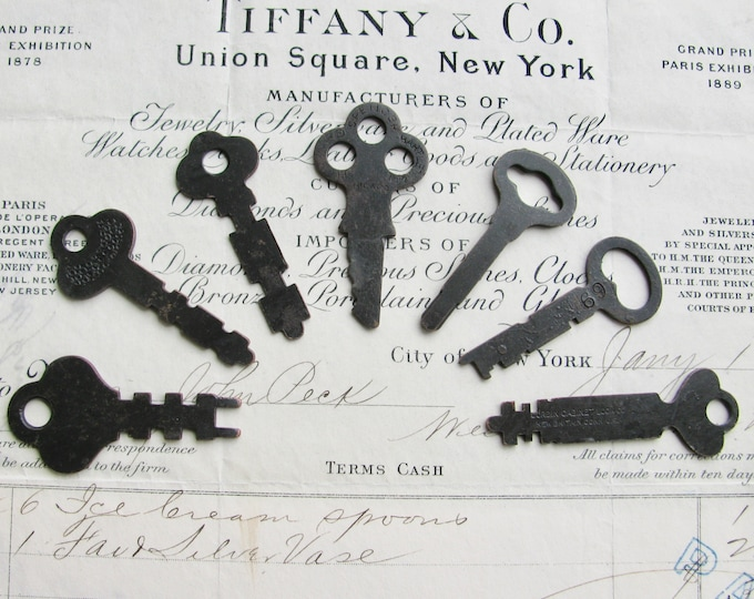 7 antique lock box keys, refinished - 2 inches long - dark, distressed, antiqued black patina, authentic vintage keys, rustic old keys