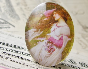 "John William Waterhouse ""Windflowers"" 40x30mm glass oval cabochon, artisan crafted in this shop, fine art cabochon, Art History collection"