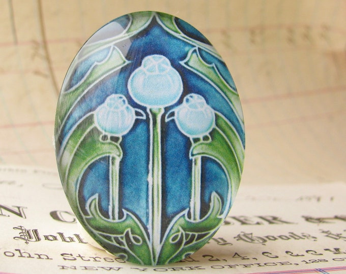 """NEW! From the """"Art Nouveau Ceramic Tiles"""" series, handmade 40x30mm glass oval cabochon, Belle Époque, blue green seed pods"""