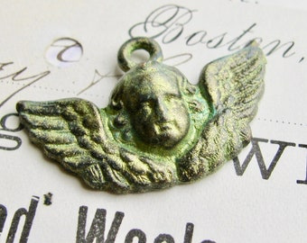 Absinthe finish - green patina with aqua highlights, winged cherub face, angel pendant from Bad Girl Castings, 35mm, absinthe fairy