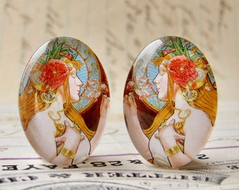 NEW! Art Nouveau vintage commercial illustration, handmade 25x18mm glass oval cabochon mirrored pair, opposites, Louis Théophile Hingre
