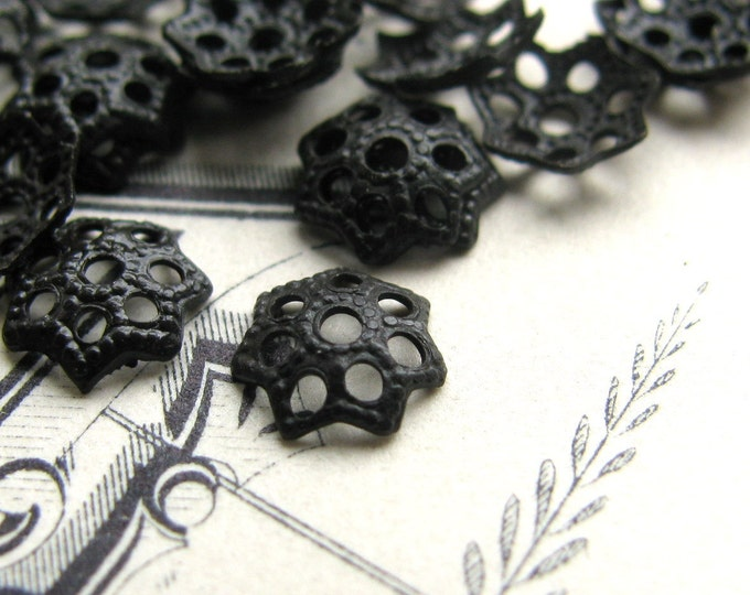 5.5mm Star Flower bead cap - black antiqued brass bead caps (50 small bead caps) dark aged patina, lead nickel free