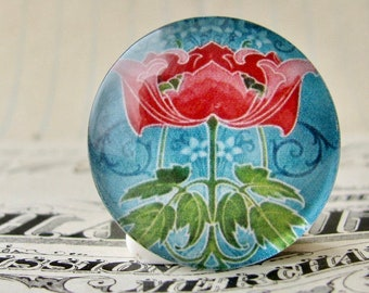 """NEW! From the """"Art Nouveau Ceramic Tiles"""" series, 25mm round glass cabochon, Jugendstile, handmade, bottle cap, 1 inch circle, pink flower"""