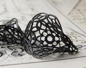 Calla Lily filigree cone bead cap, (2 black antiqued brass beadcaps) round wrap for briolettes, stick pin wrap, 30mm BC-SV-016