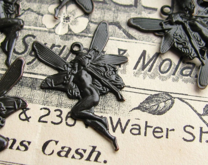 Fairy charms, black antiqued brass, 18x27mm (2 fairy pairs) left facing fairy, right facing fairy, faerie wings, black fairy, fairy pendant