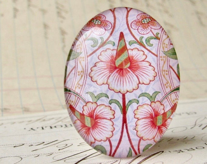 NEW! William Morris collection - pink flower, 40x30mm glass oval cabochon, wallpaper print, handmade in this shop, 40x30, Art Nouveau