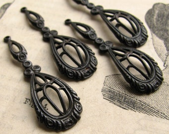 Victorian raindrops - dark antiqued brass - 35mm  (4 drops) tear drop, teardrop filigree charm, black aged patina, Boho charms