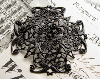 Bendable square filigree cabochon wrap, 47mm antiqued black brass filigree, pliable ox brass, dark patina, Fallen Angel Brass, ORFF014