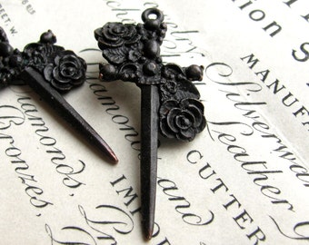 Rose dagger (2) 40mm rosary black Gothic cross pendants, Bad Girl Castings, antiqued black pewter, dark ages, Medieval weapon, Love tattoo