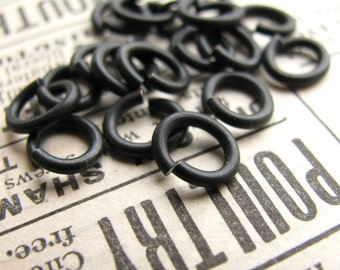 6mm x 7mm oval jump ring, black antiqued brass (30 rings) lead nickel free, black jump ring, black matte patina