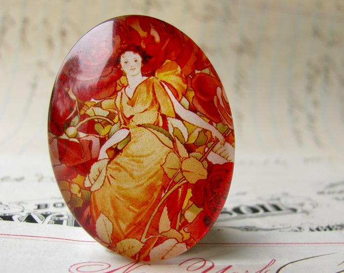 "Red ""Dream Roses"" calendar page, 40x30 or 25x18, handmade glass oval cabochon in this shop, woman sitting in flowers, Art Nouveau collection"
