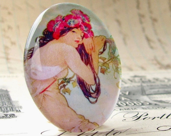 "From our Art Nouveau collection, Mucha's ""Summer"" print, The Seasons series, handmade 40x30 40x30mm, glass oval cabochon, green sage, pink"
