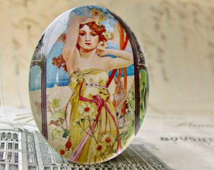 "From Alfons Mucha's ""Times of the Day"" series, ""Brightness of Day"", handmade 40x30 40x30mm glass oval cabochon, Art Nouveau collection"