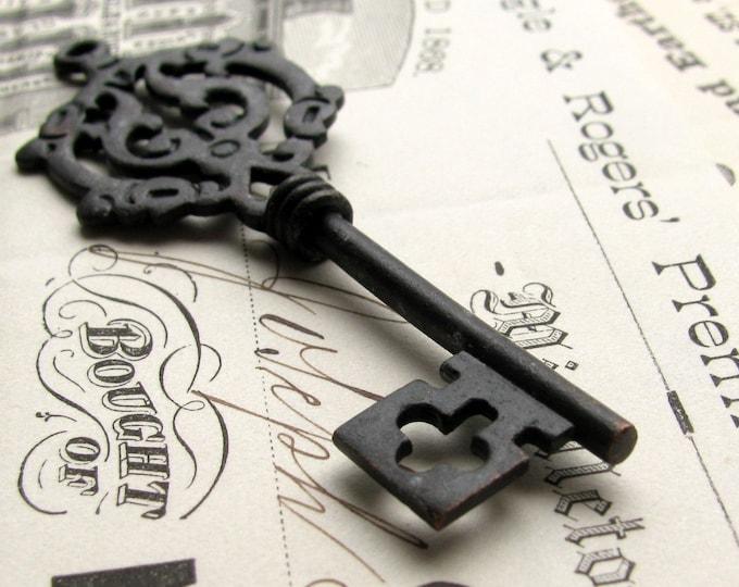 Large skeleton key pendant from Bad Girl Castings, antiqued black key, aged dark pewter,  two sided barrel shaft  CH-SC-020