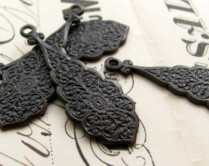 Ornate raindrops, black antiqued brass, 30mm long (4 teardrop charms) tear drop, black aged patina, flowery design, etched scalloped edges