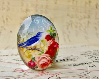 Bluebird with pink roses, from our Beautiful Birds collection of handmade glass cabochons, 25x18mm oval, pink flowers, made in this shop