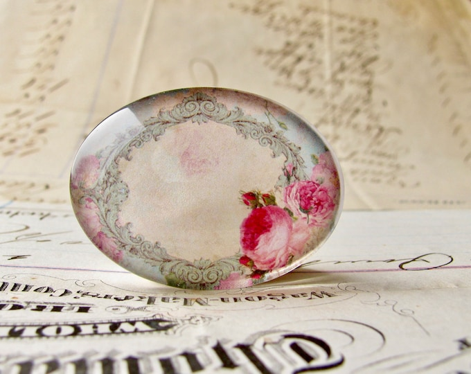 Horizontal 25x18mm glass oval cabochon, pink Victorian roses on a blue frame, handmade in this shop, Fabulous Floral collection, romantic