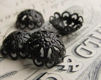 14mm domed, scalloped filigree bead cap (4) dark antiqued brass bead caps, black bead caps, aged black patina - BC-SV-031