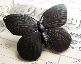 Large butterfly link, black antiqued brass, 52mm, double connector, butterfly pendant, aged patina, Victorian garden, flat stamping