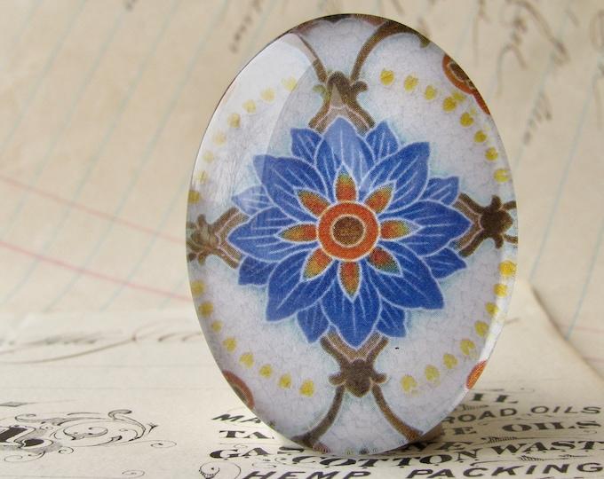 "NEW! From the ""Art Nouveau Ceramic Tiles"" series, handmade 40x30mm glass oval cabochon, Belle Époque, blue orange"