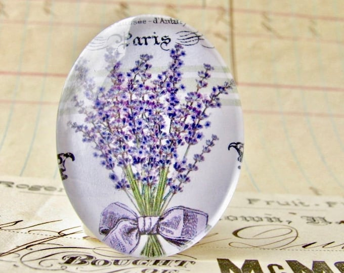 Lavender bouquet, herbs from our Vintage Kitchen collection of handmade glass oval cabochons, 40x30mm 30x40mm, cooking, purple flower