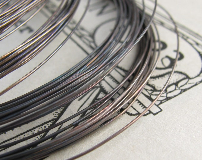 28 gauge aged black patina, hand antiqued wire, dead soft (10 feet) (3 meters) bulk coil, coiled, thin oxidized copper  wire