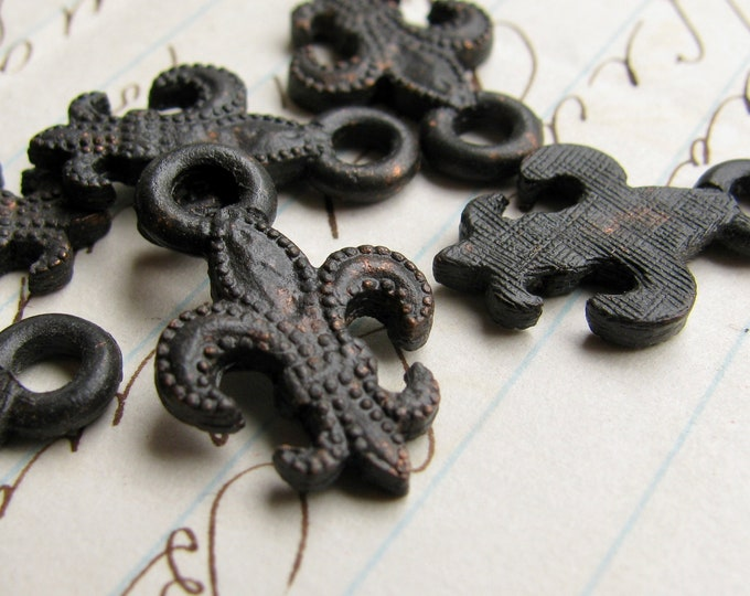 Fleur de Lis charms, 19mm, antiqued black pewter (6 charms) oxidized patina, rustic, weathered, French New Orleans vampire symbol CH-SC-031