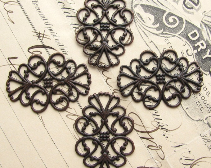 "Oval filigree ornaments, ""Ladies in Waiting"" 34x22mm (4 filigree) antiqued black brass, lacy filigree, lace, bendable wrap"