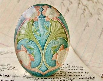 "NEW! From the ""Art Nouveau Ceramic Tiles"" series, handmade 40x30mm glass oval cabochon, Belle Époque, blue orange flower, green stem"