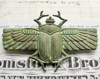 New! Absinthe finish, Egyptian scarab beetle with wings, green patina antiqued brass, 70mm, Art Deco, green fairy, magical, ancient symbol